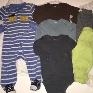 Baby boy clothing lot size 9 months footie onesie